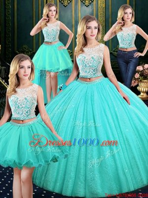 47ffef39ba7 Four Piece Scoop Sequins Blue Sleeveless Tulle and Sequined Lace Up Sweet  16 Quinceanera Dress for