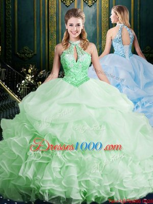 Hot Selling Halter Top Sweet 16 Dresses Organza Brush Train Sleeveless Beading and Lace and Appliques and Ruffles and Pick Ups