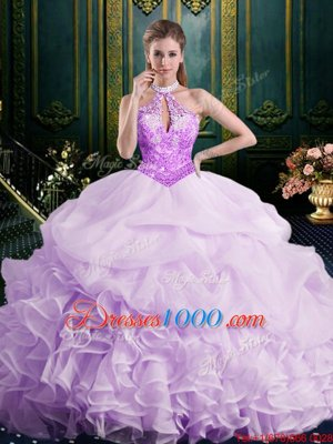 c5219ca5e38 Romantic Halter Top Lavender Sweet 16 Dress Organza Brush Train Sleeveless  Beading and Lace and Appliques and Ruffles ...
