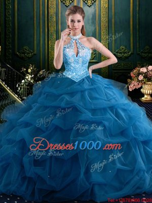 Halter Top Navy Blue Ball Gowns Beading and Pick Ups Quinceanera Dress Lace Up Tulle Sleeveless Floor Length