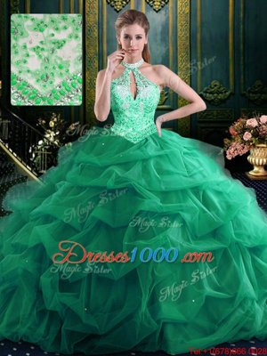 Flirting Halter Top Organza and Tulle Sleeveless Floor Length Sweet 16 Quinceanera Dress and Beading and Ruffles and Pick Ups