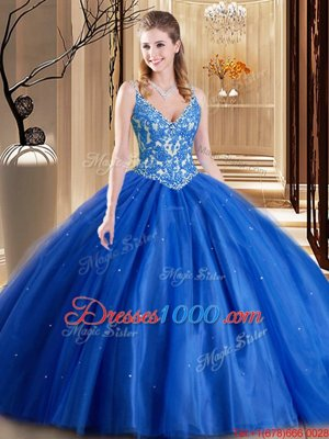 Floor Length Lace Up Quinceanera Gowns Blue and In for Military Ball and Sweet 16 and Quinceanera with Beading and Appliques