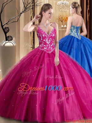 Tulle Sleeveless Floor Length 15 Quinceanera Dress and Beading and Appliques