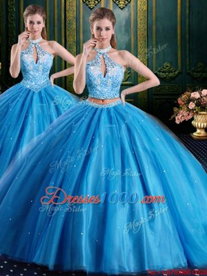 Beading and Appliques Quinceanera Dresses Baby Blue Lace Up Sleeveless Floor Length