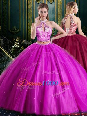 High Class Halter Top Fuchsia Sleeveless Tulle Lace Up Sweet 16 Dress for Military Ball and Sweet 16 and Quinceanera