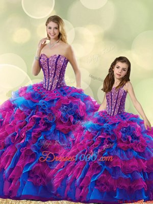 Multi-color Sweetheart Lace Up Beading and Ruffles Quinceanera Gown Sleeveless