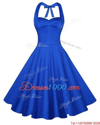Chic Blue A-line Ruching Homecoming Dress Online Backless Satin Sleeveless Knee Length