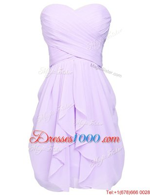 Stunning Scoop Chiffon Sleeveless Knee Length and Sashes|ribbons and Pattern