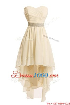 Flare Champagne Sweetheart Lace Up Belt Prom Dress Sleeveless