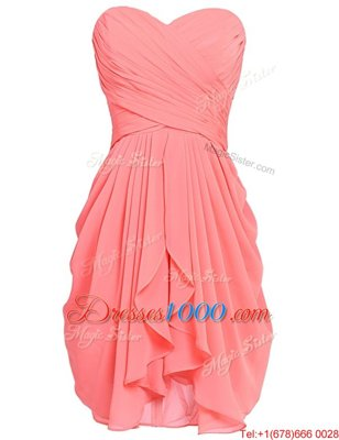 Watermelon Red Sleeveless Knee Length Ruching Lace Up Homecoming Dresses