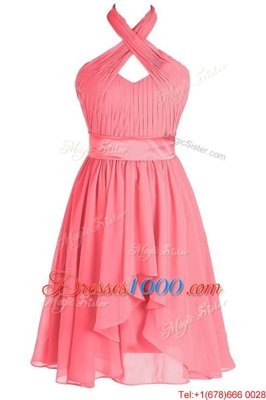 Halter Top Sleeveless Tea Length Ruching and Belt Backless with Watermelon Red
