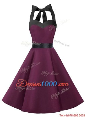 Trendy Halter Top Chiffon Sleeveless Knee Length Prom Evening Gown and Sashes|ribbons