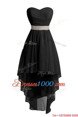 Black Organza Lace Up Sweetheart Sleeveless High Low Homecoming Dress Belt