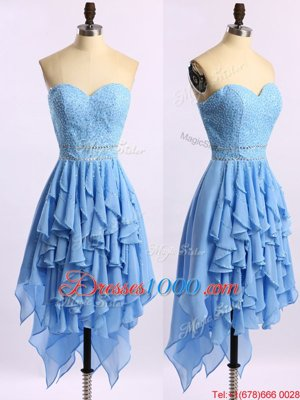 Custom Made Asymmetrical Zipper Homecoming Dress Blue and In for Prom and Party with Beading and Ruffles