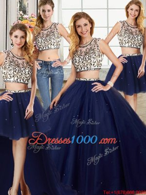Four Piece Navy Blue Ball Gowns Scoop Cap Sleeves Tulle With Brush Train Backless Beading Sweet 16 Dress