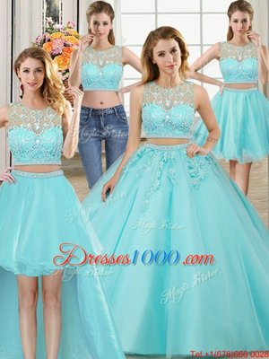 Four Piece Scoop Aqua Blue Ball Gowns Beading and Appliques Quinceanera Dress Zipper Tulle Sleeveless Floor Length