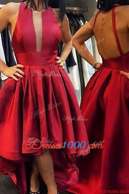 Nice Red Satin Zipper Scoop Sleeveless Asymmetrical Club Wear Pleated