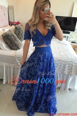 Custom Designed Royal Blue Prom and Party and For with Lace and Appliques V-neck Short Sleeves Sweep Train Zipper
