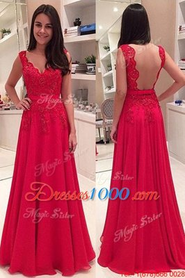 Red V-neck Backless Lace Homecoming Dress Online Sleeveless