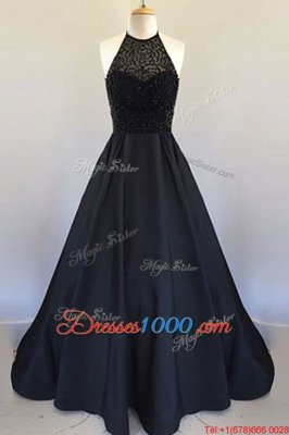 Designer Halter Top Sleeveless Prom Party Dress Floor Length Beading and Pleated Black Satin