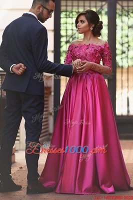 Off the Shoulder Fuchsia Satin Zipper Prom Homecoming Dress Long Sleeves Sweep Train Appliques