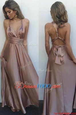 Pleated Homecoming Dress Online Pink Criss Cross Sleeveless Floor Length