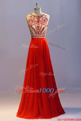 Popular Scoop Sleeveless Floor Length Beading and Pleated Side Zipper Prom Dresses with Coral Red