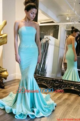 Attractive Mermaid Baby Blue Strapless Neckline Ruching Prom Homecoming Dress Sleeveless Zipper