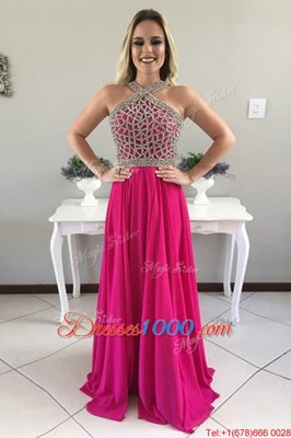 Top Selling Fuchsia Prom and Party and For with Beading Halter Top Sleeveless Sweep Train Zipper