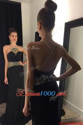 Brush Train Mermaid Homecoming Gowns Black Halter Top Satin Sleeveless With Train Criss Cross