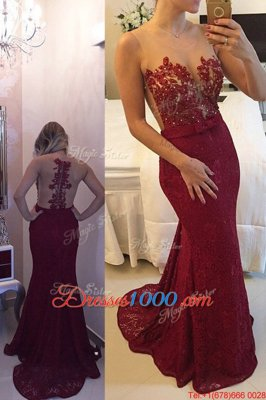 Colorful Mermaid Lace Scoop Sleeveless Sweep Train Zipper Beading and Appliques Hoco Dress in Burgundy