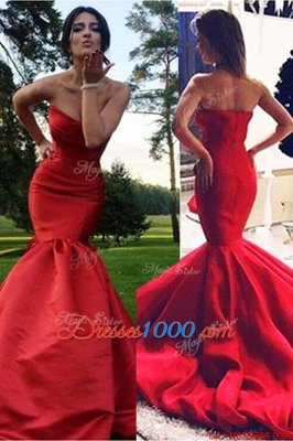 Mermaid Red Sweetheart Neckline Pleated Prom Evening Gown Sleeveless Zipper