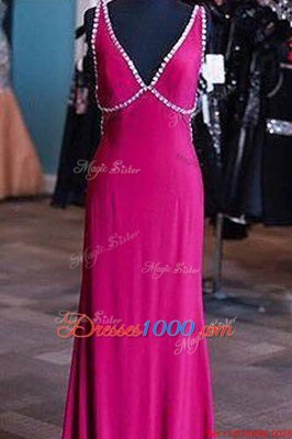 Satin V-neck Sleeveless Zipper Sashes|ribbons Prom Gown in Fuchsia