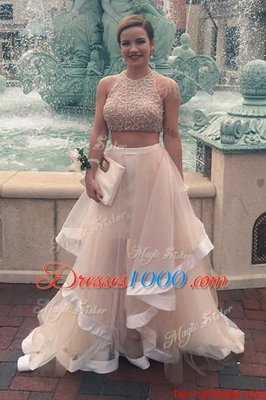 Scoop Sequins Floor Length A-line Sleeveless Champagne Prom Gown Zipper