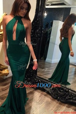 Traditional Halter Top Mermaid Sleeveless Green Prom Gown Sweep Train Backless
