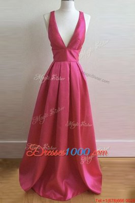 Dramatic Pleated Floor Length A-line Sleeveless Hot Pink Homecoming Party Dress Criss Cross