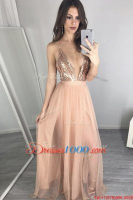 V-neck Sleeveless Tulle Prom Dresses Sequins and Pleated Zipper