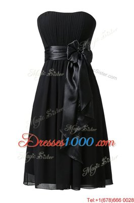 Glittering Black Chiffon Zipper Prom Evening Gown Sleeveless Knee Length Sashes|ribbons and Ruching