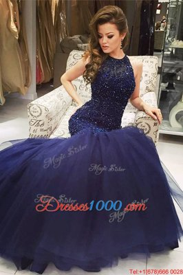 Most Popular Mermaid Tulle Scoop Sleeveless Backless Beading High School Pageant Dress in Navy Blue