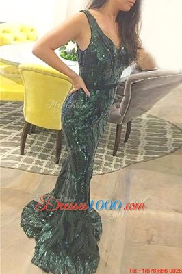 New Style Mermaid V-neck Sleeveless Prom Dresses Sweep Train Sashes|ribbons Dark Green Sequined
