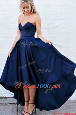 Best Navy Blue Satin Zipper Sweetheart Sleeveless High Low Evening Dress Pleated