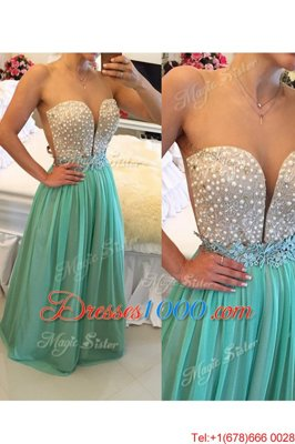 Noble Turquoise Column/Sheath Sweetheart Sleeveless Chiffon Floor Length Zipper Beading Hoco Dress