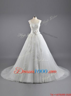 Custom Designed Court Train A-line Wedding Gown White Straps Tulle and Lace Sleeveless Lace Up