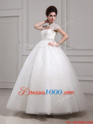 Halter Top Floor Length White Wedding Dress High-neck Cap Sleeves Lace Up