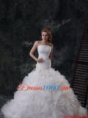 New Arrival Ruffles and Ruching Wedding Dress White Lace Up Sleeveless Brush Train