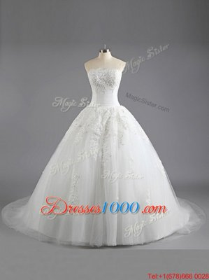 Pretty Sleeveless Court Train Lace Up With Train Beading and Appliques Wedding Dress