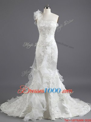 Mermaid White Sleeveless Chapel Train Beading and Appliques and Ruffles With Train Wedding Dresses