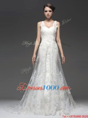 Cheap Sleeveless Brush Train Lace and Appliques Zipper Wedding Gowns