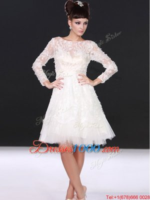 White Lace Zipper Bateau Long Sleeves Knee Length Wedding Gown Lace