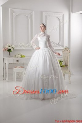 Super Long Sleeves Sweep Train Zipper Lace Wedding Dress